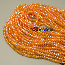 One Strand AB Orange Red Small Faceted Rondelle Glass Crystal Beads 4×3 mm CC167