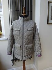 Barbour Womens Taupe Beige Jacket with Liberty Print 14 EU 40