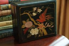 VICTORIAN ANTIQUE ASIAN WOOD TEA BOX CHEST BLACK LAQUER HAND PAINTED BIRD FLORAL
