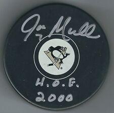 Autographed Joe Mullen Hof 2000 Pittsburgh Penguins Hockey Puck