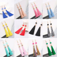 Boho Long Tassel Dangle Thread Fringe Drop Ear Stud Hook Earrings Women Jewelry