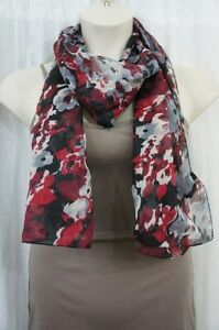Cejon Scarf Sz OS One Size Red Black Multi Color Polyester Sheer Casual Scarf