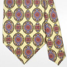 INTRICATE Bally Made in Italy Yellow Tie with Blue Red Medallion 100% Silk