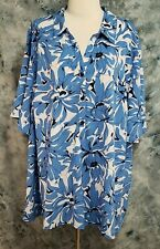 Catherines Womens 3X 26/28W Blue White Floral V Neck Button Pullover Top