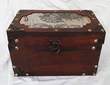 Vintage World Map Design Wooden Box / Trunk / Storage Chest - BNWT