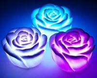 wechselnde LED schwimmende Rose Blume Kerze Nacht Licht Weihnachten HQ