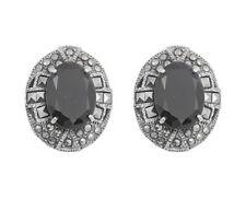 Marcasite Black CZ Oval Earrings Sterling Silver 925 Vintage Jewelry Gift