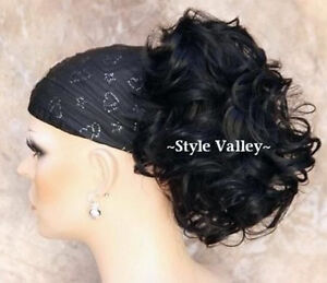 Black Short Wavy/Curly Ponytail Hairpiece Extension Claw Clip in Hair Piece #1