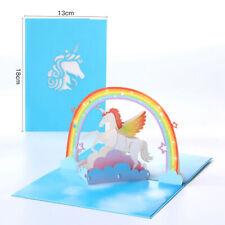 3D Pop Up Greeting Card Birthday Wedding Valentine Unicorn Pegasus Rainbow Card