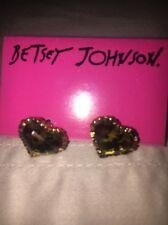 Betsey Johnson Leopard Heart Lucite Earrings NWT