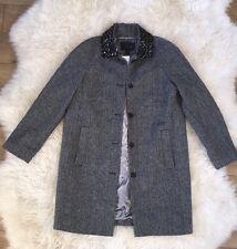 JCrew $650 Collection Herringbone Coat with Beaded Collar concrete black 6 B1222