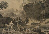 BERCHEM zugeschr, Ländl. Szenen. Felsige Flusslandschaft , 17. Jh., Rad