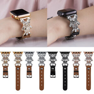 For Apple Watch iWatch Series SE 6 5 4 40/44mm Band Leather Strap Crystal Links