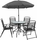 Flash Furniture Nantucket 6 Piece Black Patio Garden Set With Umbrella Table