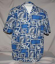 XL Royal Creations Hawaiian Shirt Blue White Bamboo Tiki Hibiscus Hawaii