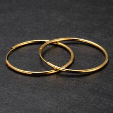 Women's 24k Solid Gold GF Round Plain Huggie Hoop Earrings Jewellry Ø35mm