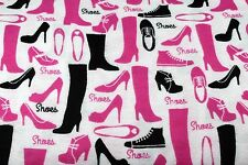 PINK & BLACK SHOES FASHIONISTA FLANNEL FABRIC 100% COTTON SEWING QUILTING BTY
