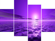 Purple Lilac Water Sea Contemporary Multi 4 Panel Set Canvas Picture Wall Print