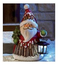 Outdoor Santa Father Christmas Solar Power LED Lantern Garden Decoration