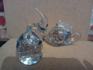 UNBRANDED HANDBLOWN CLEAR GLASS ANIMAL PAPER WEIGHTS (damage to rabbit.)