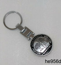 Metal Chrome AMG Car Key Ring Black Roundel Badge