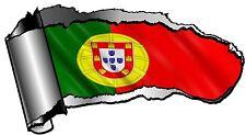 Déchiqueté gash rip torn metal & portugal portugais pays drapeau autocollant voiture