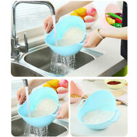Double Handle Vegetable Fruit Rice Washing Drain Strainer Colander Basket Home