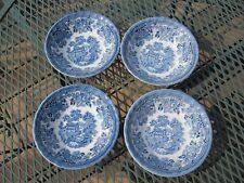 Four Myott Meakin Tonquin Blue Cereal Bowls