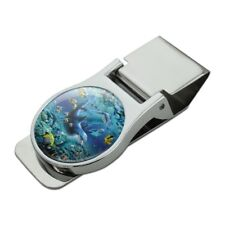 Coral Reef Diving Dolphin Pals Diving Satin Chrome Plated Metal Money Clip
