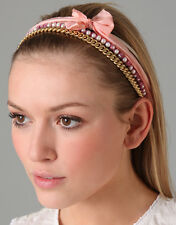 Juicy Couture Headband 4 Layer Silk Gold Chain Pearls NEW $65