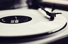 Framed Print - White Label Vinyl on the Decks (Picture Poster DJ Turntable Art)