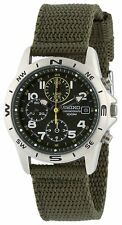 SEIKO SND377R Khaki Green Men's Small Second Quartz Watch Cloth Band from Japan