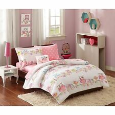 6 PC Pink Girls,Kids Owls,Polka Dots Comforter Bed in a Bag w/Sheet Set/Twin,New