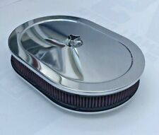 """Chrome Air Cleaner Steel Oval 12"""" Red Washable Filter Chevy 283 327 350 383 New"""