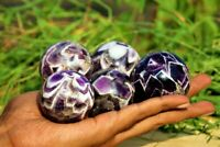 Small 5pc 50MM Purple Chevron Auralite 23 Stone From Canada Healing  SPHERE BALL