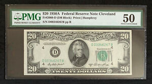 NQC Fr. 2060-D $20 1950A Federal Reserve Bank Note - About Uncirculated 50