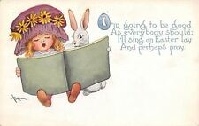 Benjen~White Easter Bunny Shares Hymnal With Lil Girl~Purple Bonnet~Gibson Art