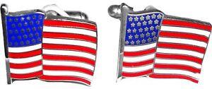 C183 New In Original Box Geoffrey Beene Mens Cufflinks Round Usa American Flag