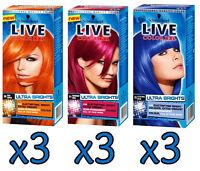 3 x SCHWARZKOPF LIVE COLOR XXL HD ULTRA BRIGHTS 90 COPPER 91 RASPBERRY 95 BLUE