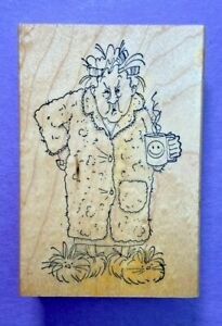Art Impressions Rubber Stamp Wood Mount Grumpy Morning Old Lady M1249 Coffee VTG