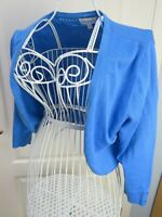 MONSOON Blue Shrug Bolero Cropped Cardigan Cotton Knit M 12 14 IMMACULATE CON
