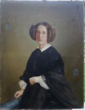 Portrait de Femme Caroline De Veydet Vicomtesse du XIXème HST armoiries