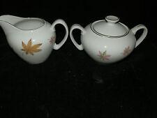 Vintage, Porcelain, White,  Fall Leaf Pattern, Covered, Sugar Bowl & Creamer