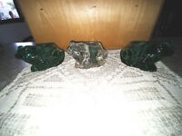 INDIANA SPANISH GREEN AND CLEAR FROD VOTIVE WITH CANDELS SET OF 3
