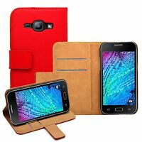 Wallet RED Leather Flip Case Cover Pouch For Samsung Galaxy J1 2015 (+2 FILMS)