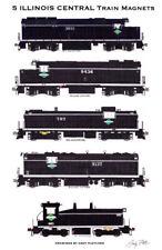 Illinois Central 1960s-era Locomotives 5 magnets Andy Fletcher