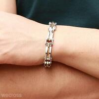 Stylish Two Tone Stainless Steel Men's Chain Link Bracelet Wristband Cuff Bangle