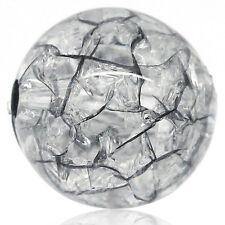 100 Perles intercalaire Acrylique Rond Craquelé Noir Accessoire 12mmDia.B27584