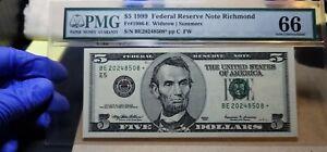 Fr.1986-E* $5 1999 Richmond STAR Federal Reserve Note PMG GEM 66 EPQ