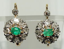 Antique Victorian Diamond & Emeralds Earrings Gold & Platinum Genuine Val $7950